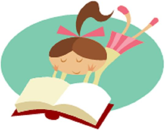 clip art of children reading. illustration of kids reading