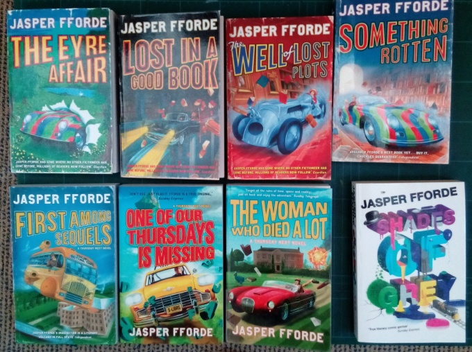 Thursday Next series, by jasper Fforde, available at MACLIC